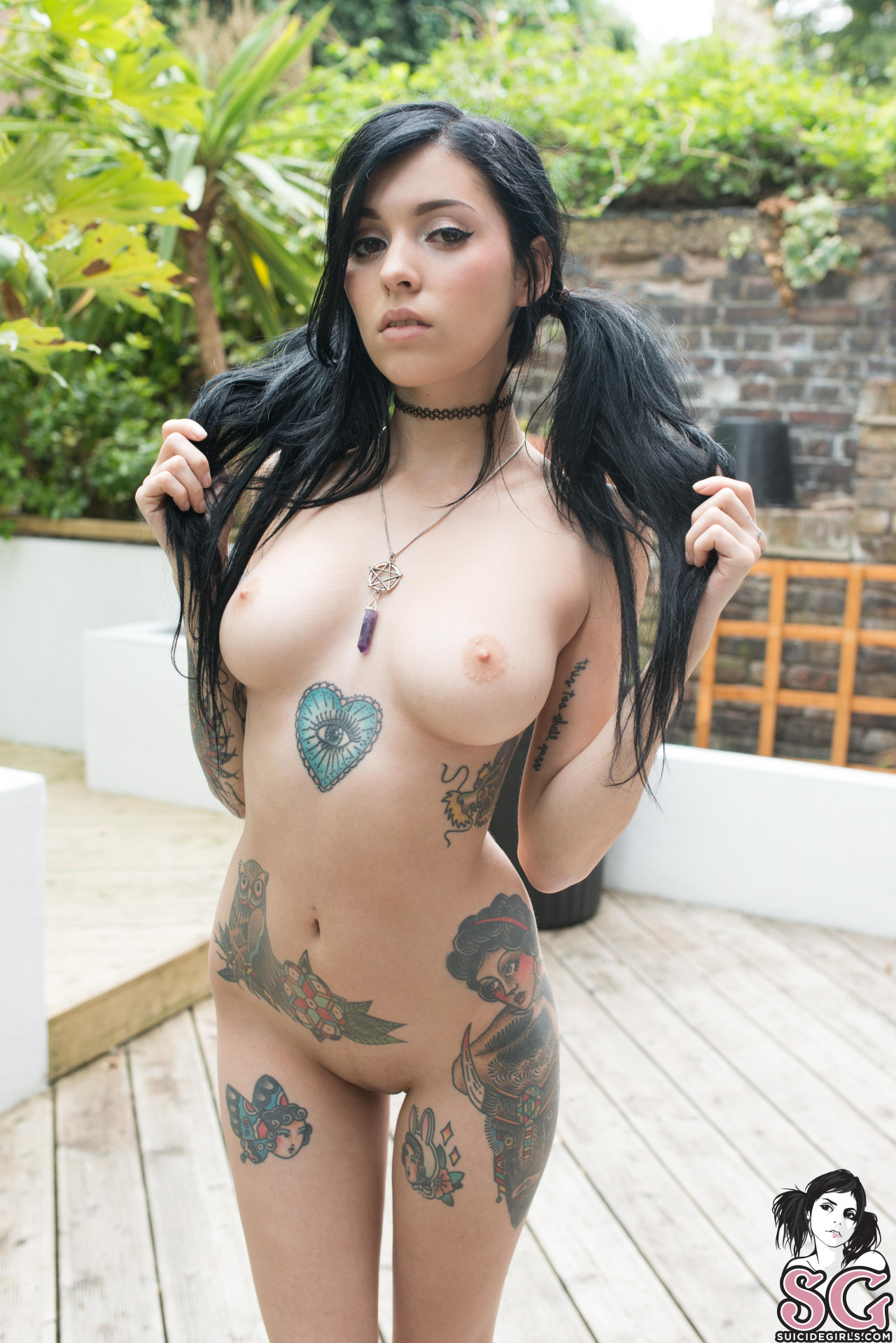 Tattooed purple haired girl sensual riding and cumming